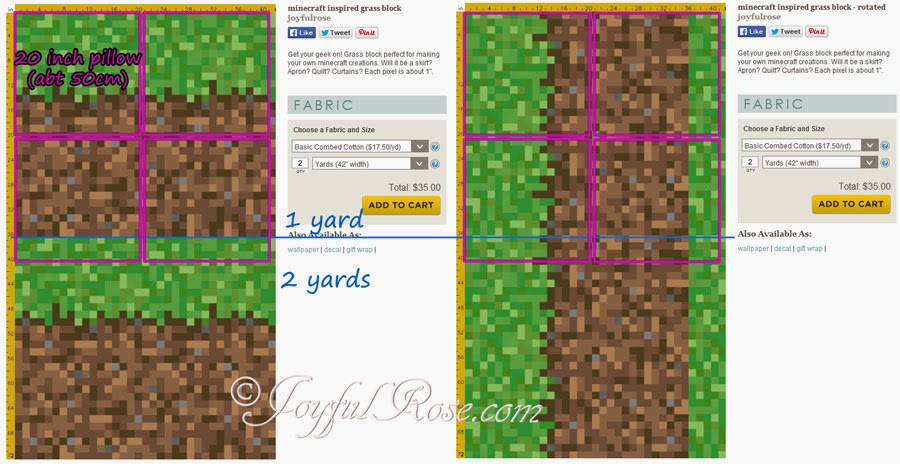 If you purchase 1 yard of fabric you can make for Minecraft fabric by the yard