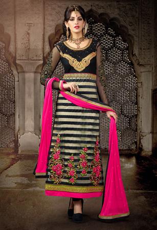 Black Net Brasso Abaya Style Churidar Suit
