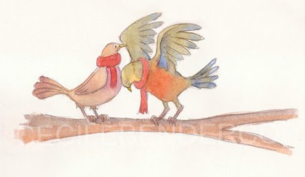 love birds watercolor