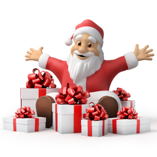 Joyful Santa with Gifts