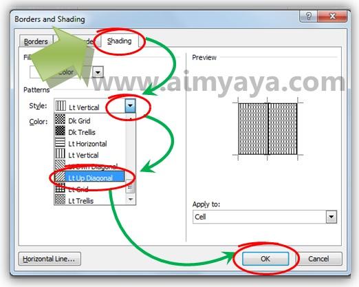 Gambar: Cara membuat/menambahkan pola arsiran pada sel tabel di microsoft word 2010