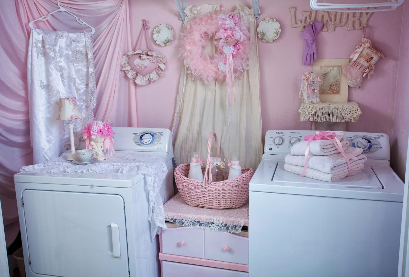 Romantic shabby chic home romantic shabby chic blog - Shabby Chic Pink Laundry Room