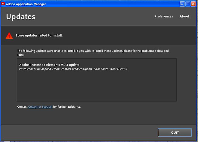 Is you see this message while updating Adobe Photoshop Elements 9.0 to 9.0.3, simply disable Backup/Sync and run the update again...For more details, check out http://kb2.adobe.com/cps/899/cpsid_89987.html