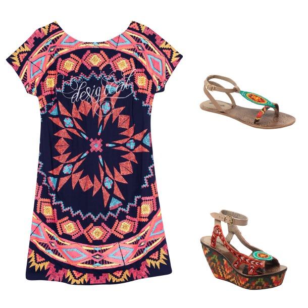 vestido, sandalias