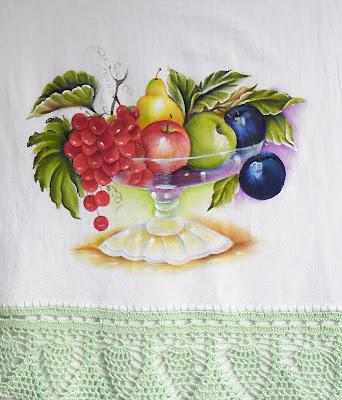 pano de copa com pintura de fruteira transparente