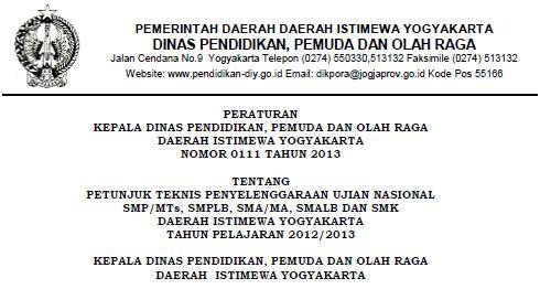 Juknis UN 2013 Daerah Istimewa Yogyakarta