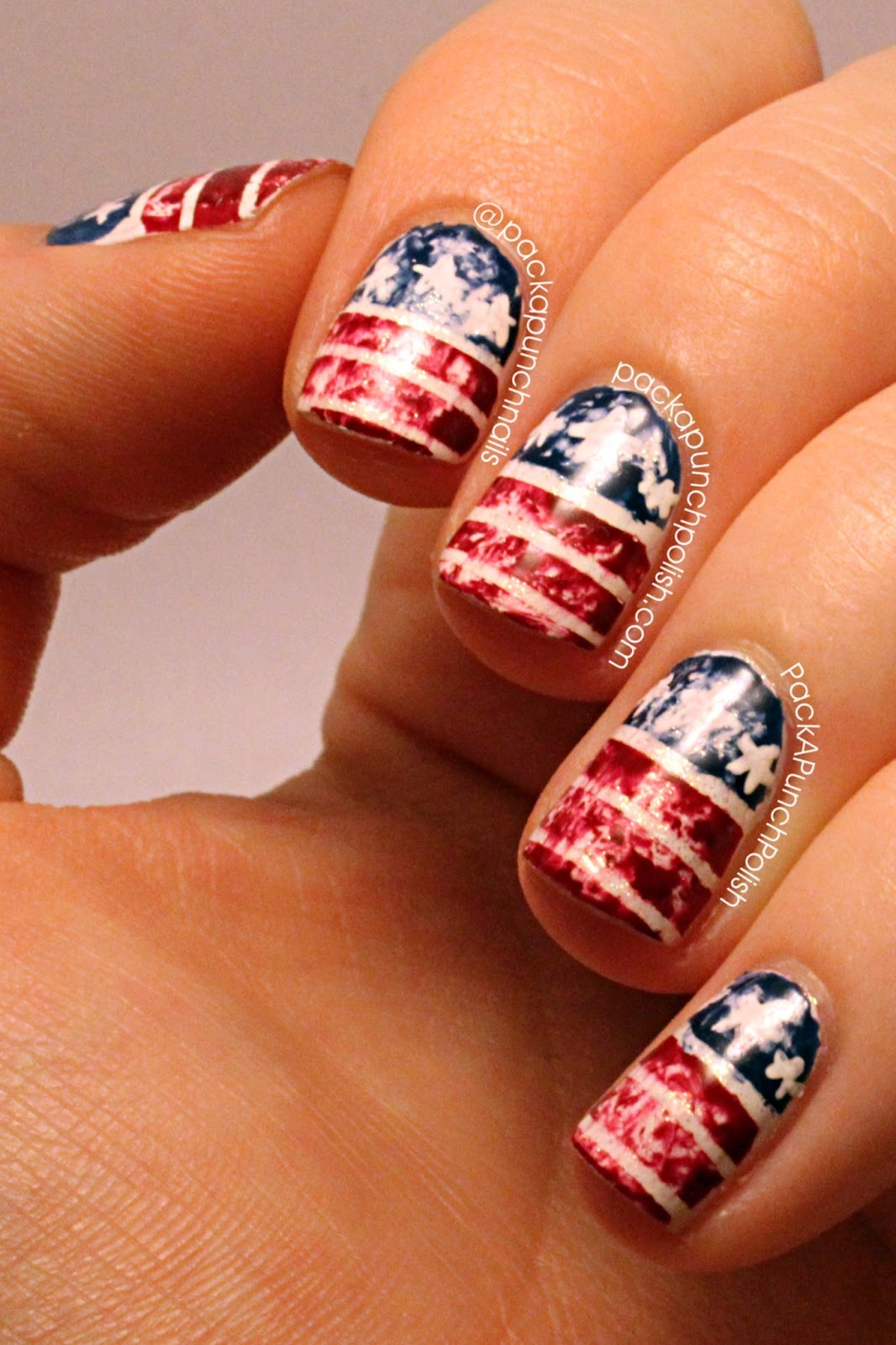 Distressed American Flag Nail Art - PackAPunchPolish: Distressed American Flag Nail Art