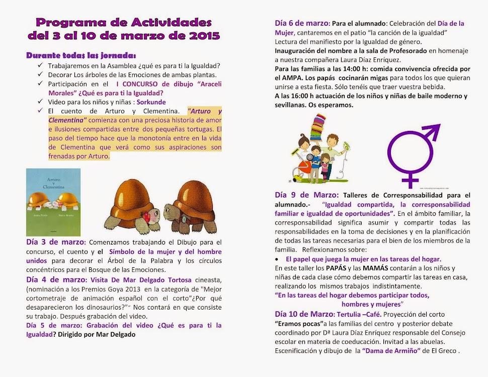 Jornadas de Igualdad del 3 al 10 de Marzo E.E.I Río Ebro.