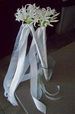 flower girl wand, white ribbon dancer, nerine lilies, wedding, white, florist, ann arbor, polo Fields, Michigan wedding, sweet pea floral design