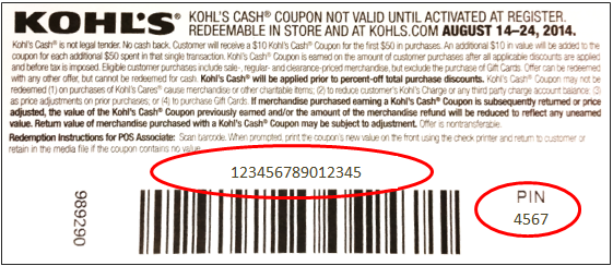 Kohl's Cash Coupon in-store purchase