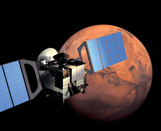 Artist's impression of ESA spacecraft Mars Express in orbit around Mars