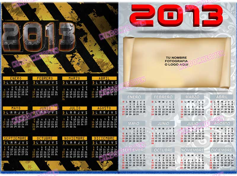 calendarios psd png 2013 corporativos