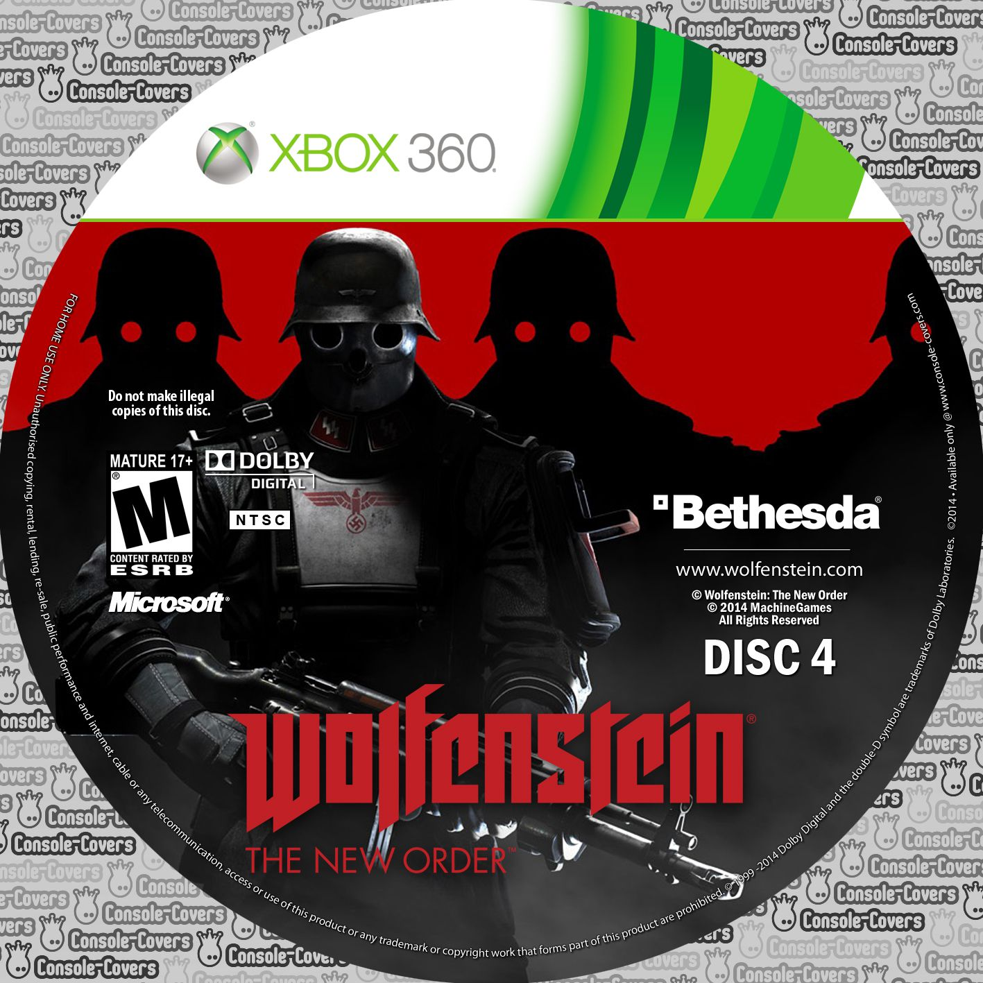 Label Wolfenstein The New Order Disc 4 Xbox 360