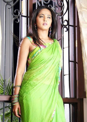 Anushka Shetty in a Green Saree with Sleeveless Blouse
