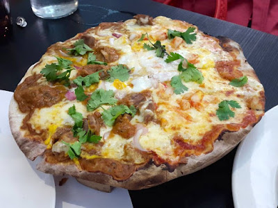 Tandoori Chicken and Chili Crab Pizza at Cafe Melba Singapore