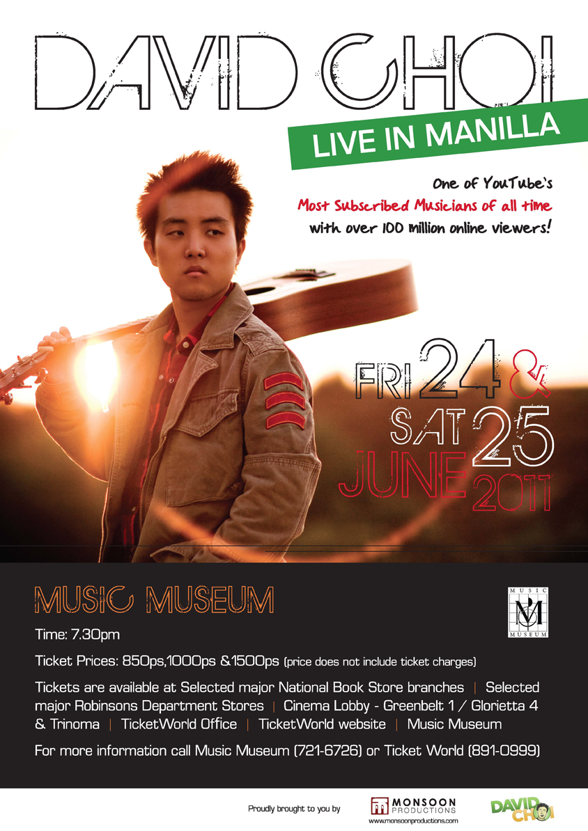YouTube, David Choi LIVE in Manila Ticket Prices, David Choi Live in Manila, POSTER, Image, Picture, Photos, Billboard, Cover Album