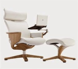 White Leather Nuvem Chair with Teak Accents