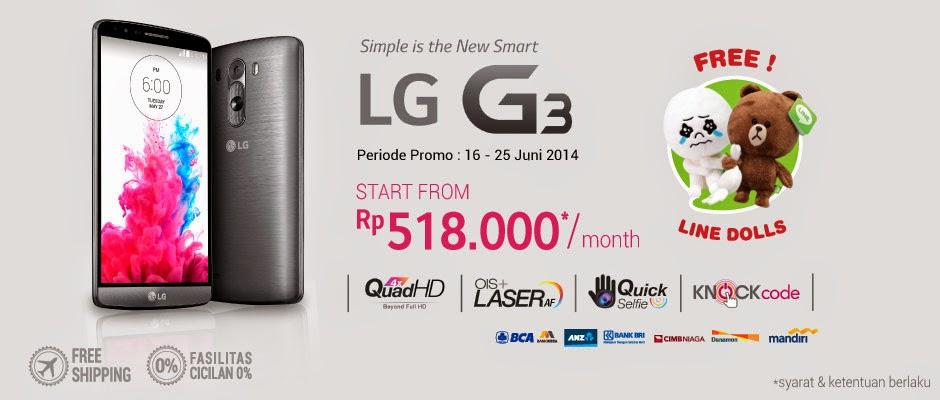 Pre-Order LG G3 di blibli com mulai harga Rp 518.000 perbulan