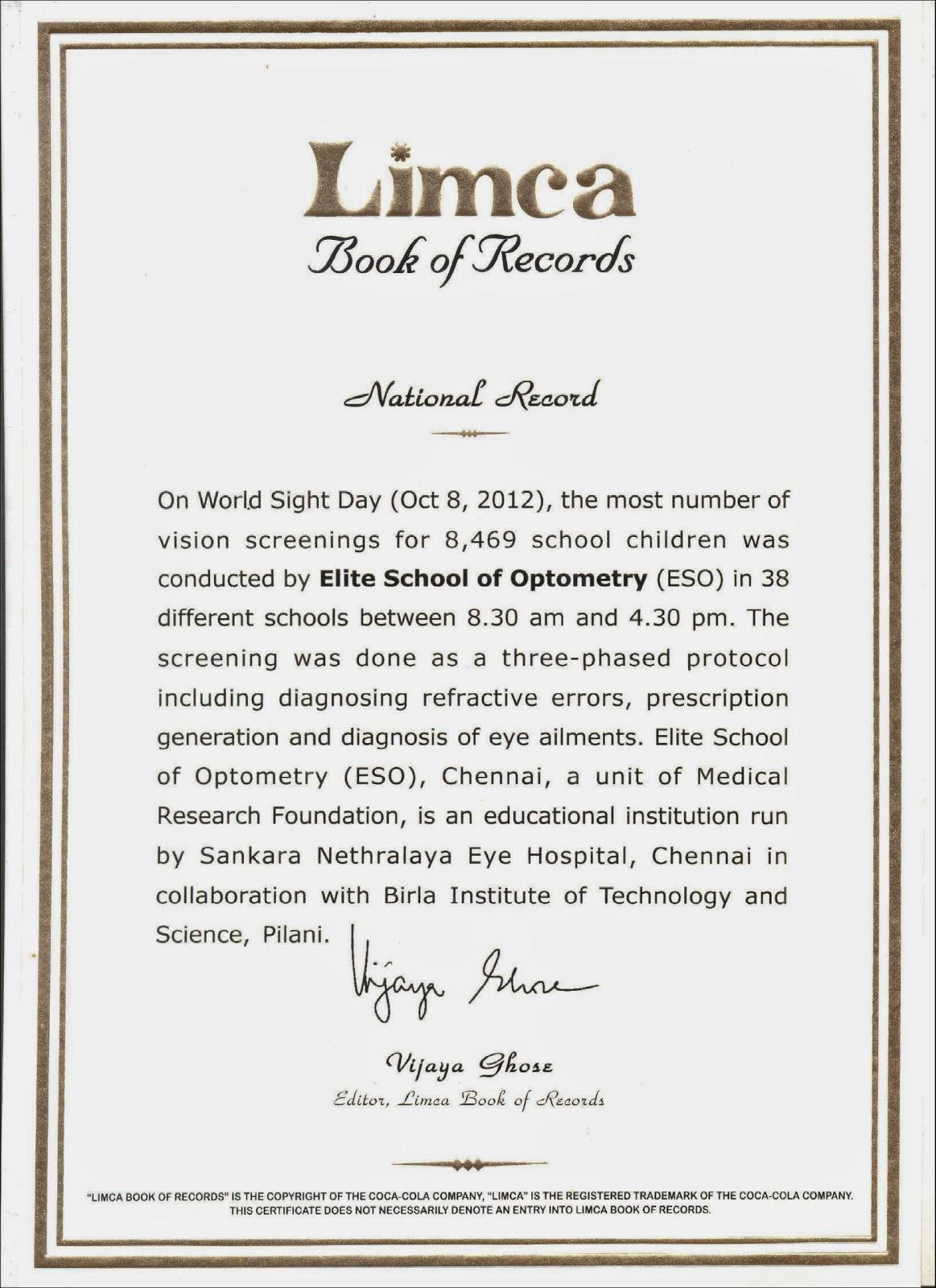 R venkats blog venkataramanan ramasethu 2014 elite school of optometry eso sets a national record aiddatafo Gallery