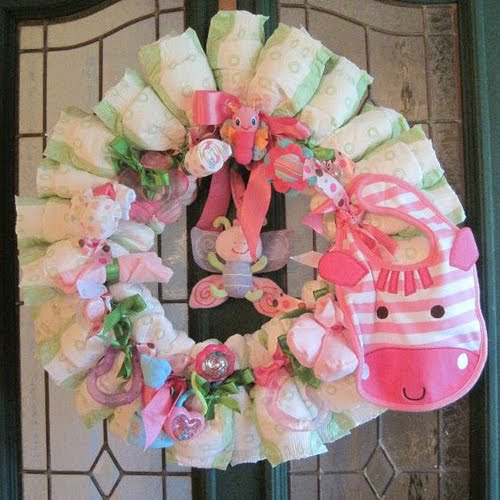 Pink and green baby shower for lauren belly feathers for Baby shower decoration ideas blog
