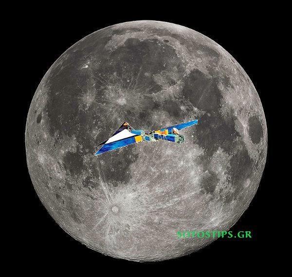 Το φεγγάρι κι ένας δορυφόρος επικοινωνιών