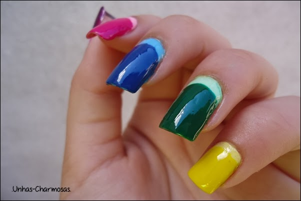 nail art, francesinha invertida,  francesinha invertida colorida,