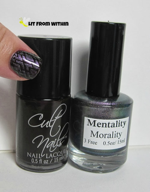 Bottle shot:   Cult Nails LameStain and Mentality Morality