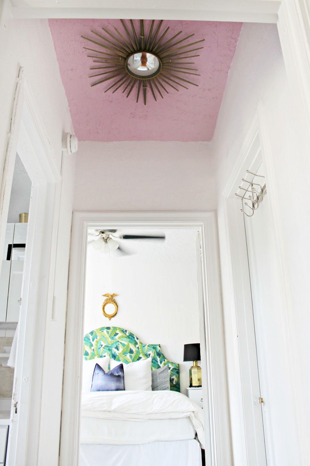 DIY Pink Ceiling and Sunburst Mirror \