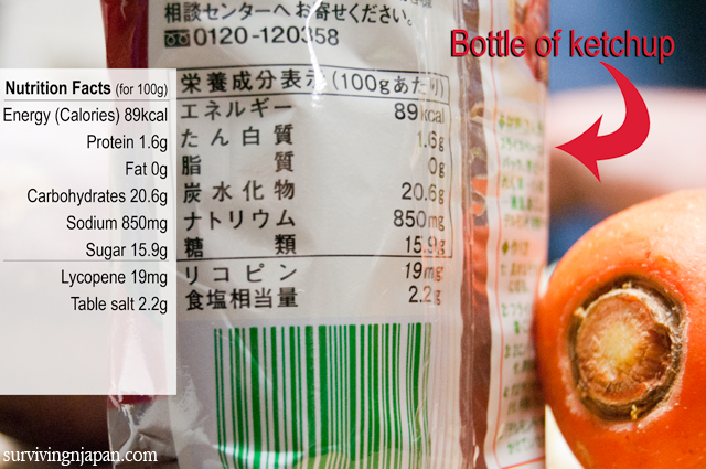 ketchup, food label, Japan, nutrition facts, Japanese, translation
