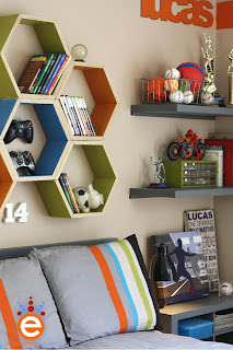 teen, boy's, room makeover, shelving, hexagons, Aaron Christensen