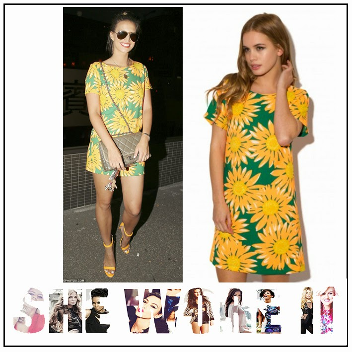 Bright, Cap Sleeve, Chiffon, Daisy Street, Dress, Ferne Mccann, Floral Print, Graphic Print, Green, Mini Dress, Neon, Orange, Shift Dress, The Only Way Is Essex, TOWIE, White, Yellow,