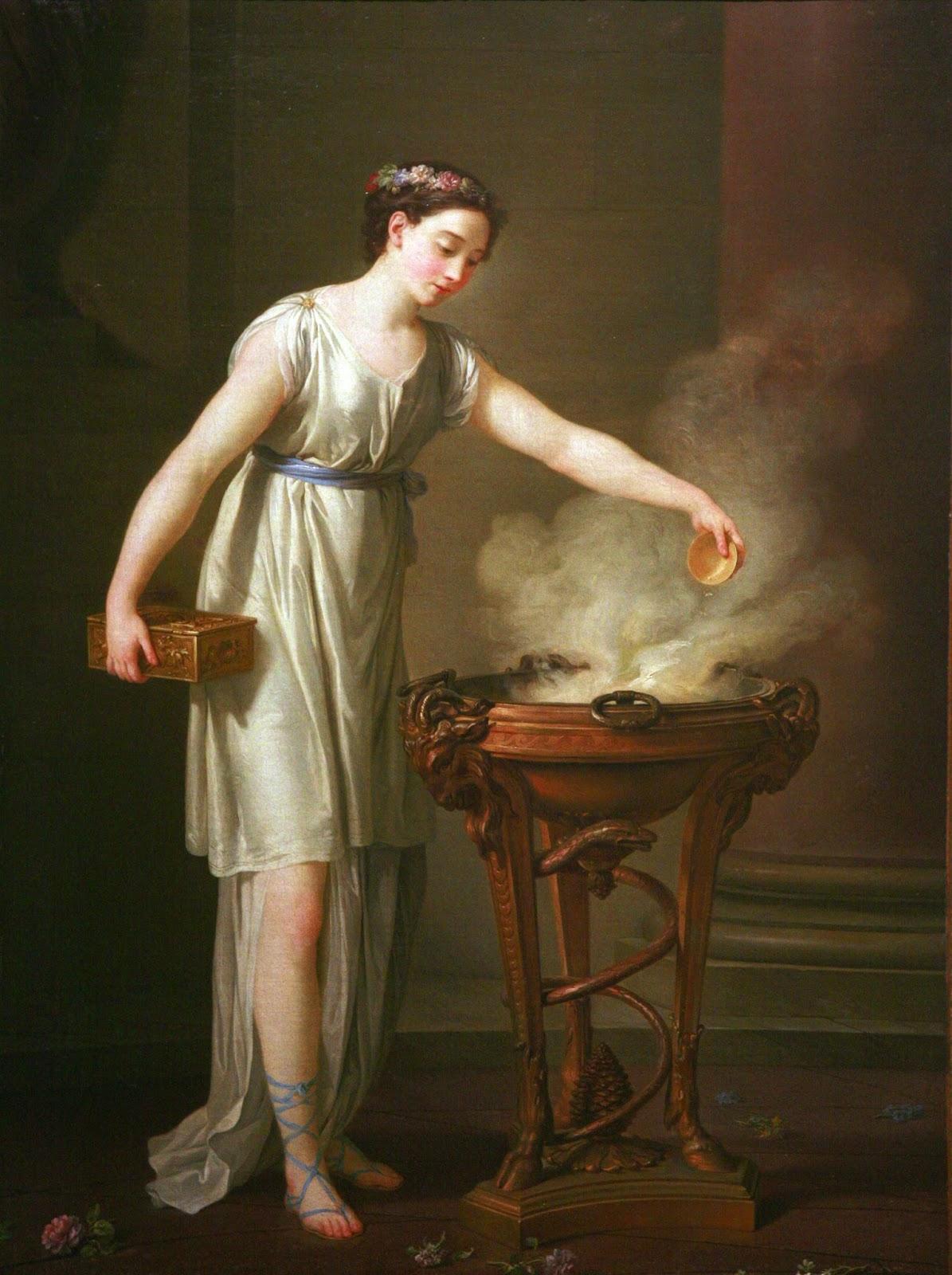 Joseph-Marie Vien (1716-1809), Une prêtresse brûle de l'encens sur un trépied, dite La Vertueuse Athénienne.