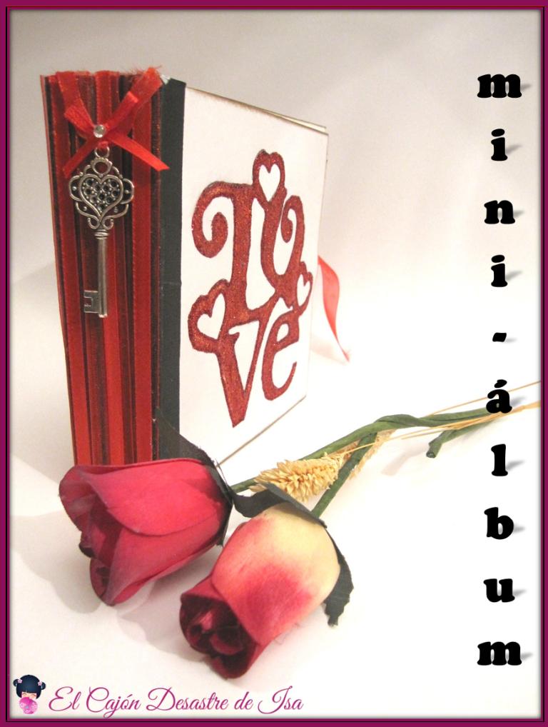 foto 8 imagen para pinear de decoración lomo del LOVE mini-álbum con lazo rojo, llave con corazón y rosas