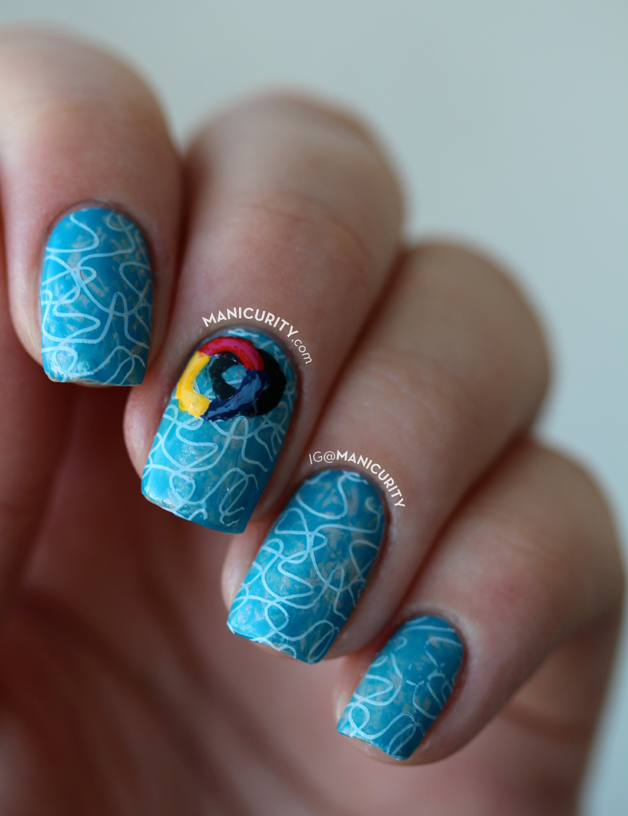 The Digit-al Dozen does SUMMER: Swimming Pool Nail Art using the saran wrap technique, stamping, and a freehand floatie ring | Manicurity.com