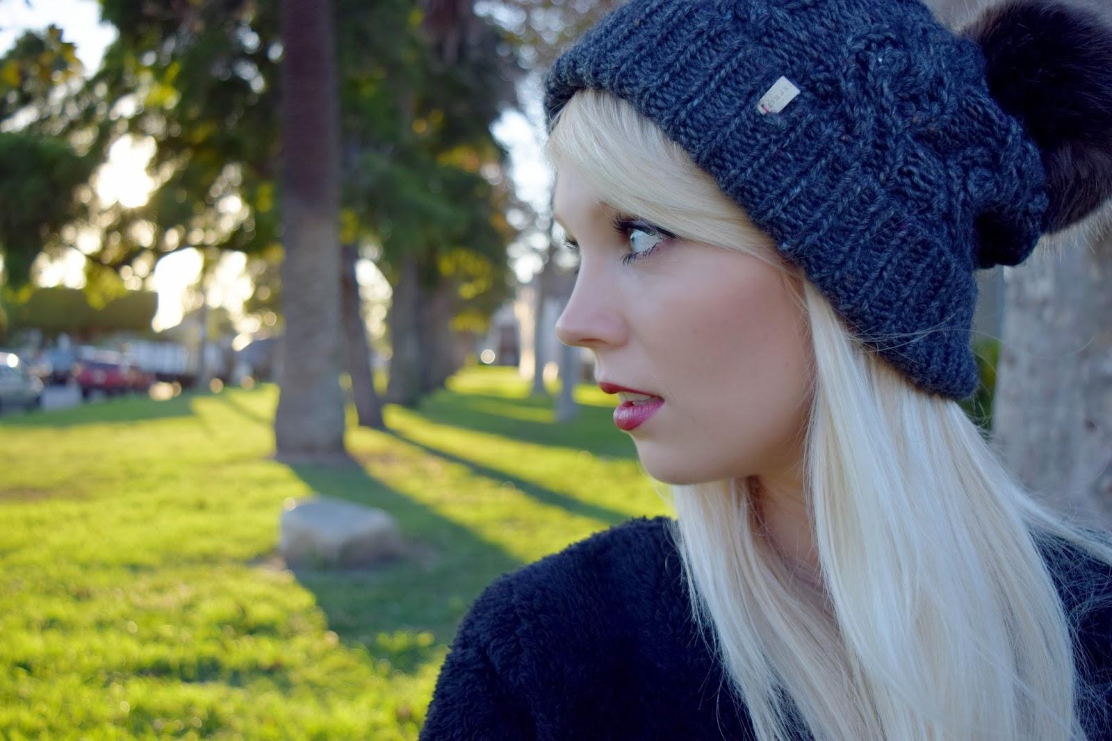 Esprit knit hat, knit hat, hat, faux fur hat, fall look, fall