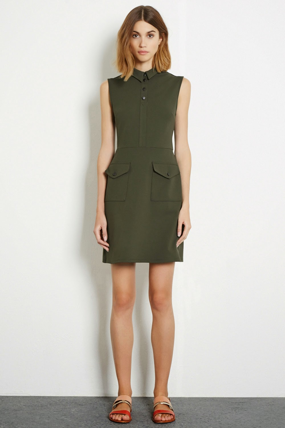 warehouse khaki dress,