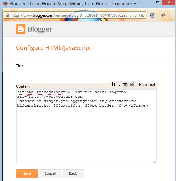 html javascript widget blogger bloggingehow