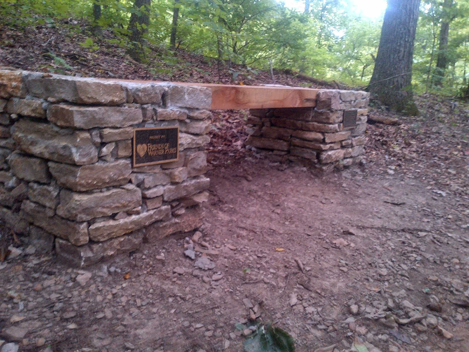 New Stone/Cedar Bench in Percy Warner Park
