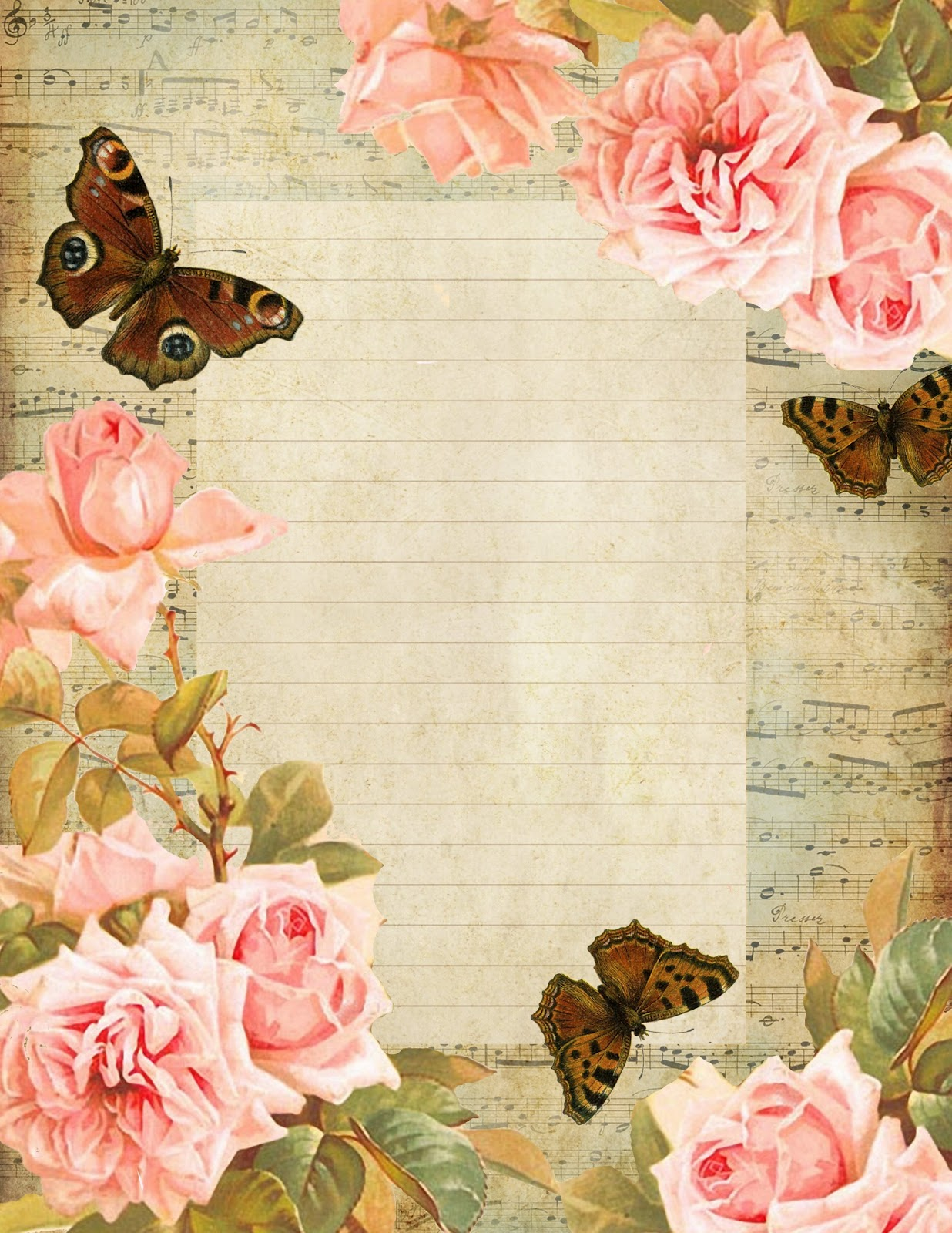 French+sheet+music+lined+paper+~+brown+butterflies+pink+roses+blue+sky ...