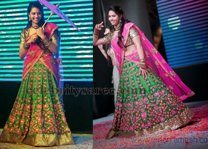 Rose Floral Design Reception Half Sari
