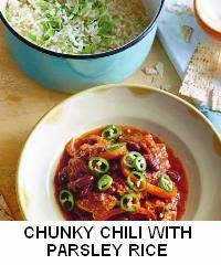 Chunky Chili with Parsley Rice