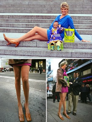 The woman with the longest legs in the world.