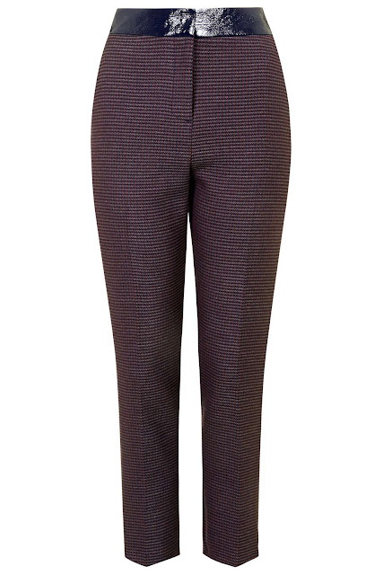 burgundy dogtooth trousers.