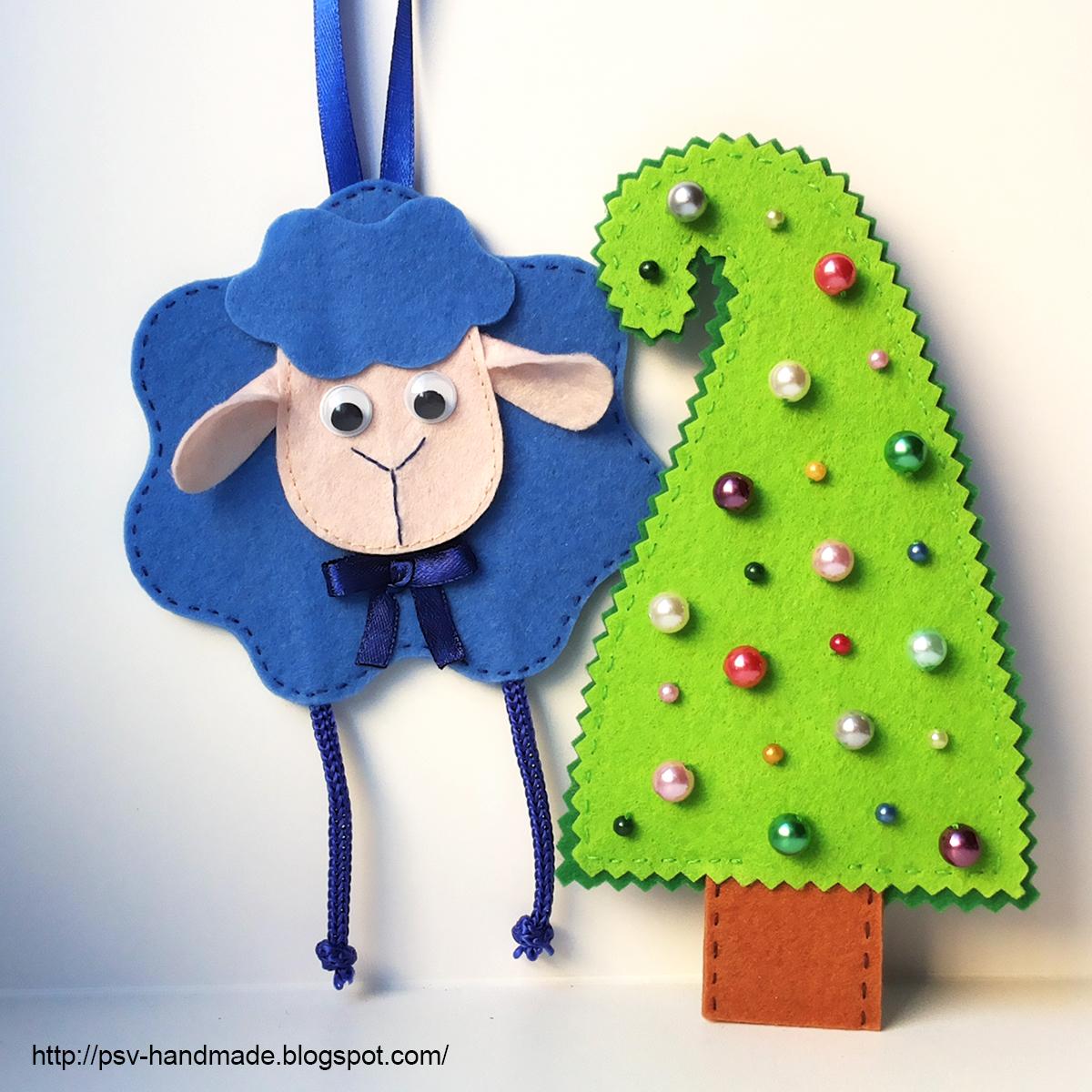 Овечка и елка из фетра