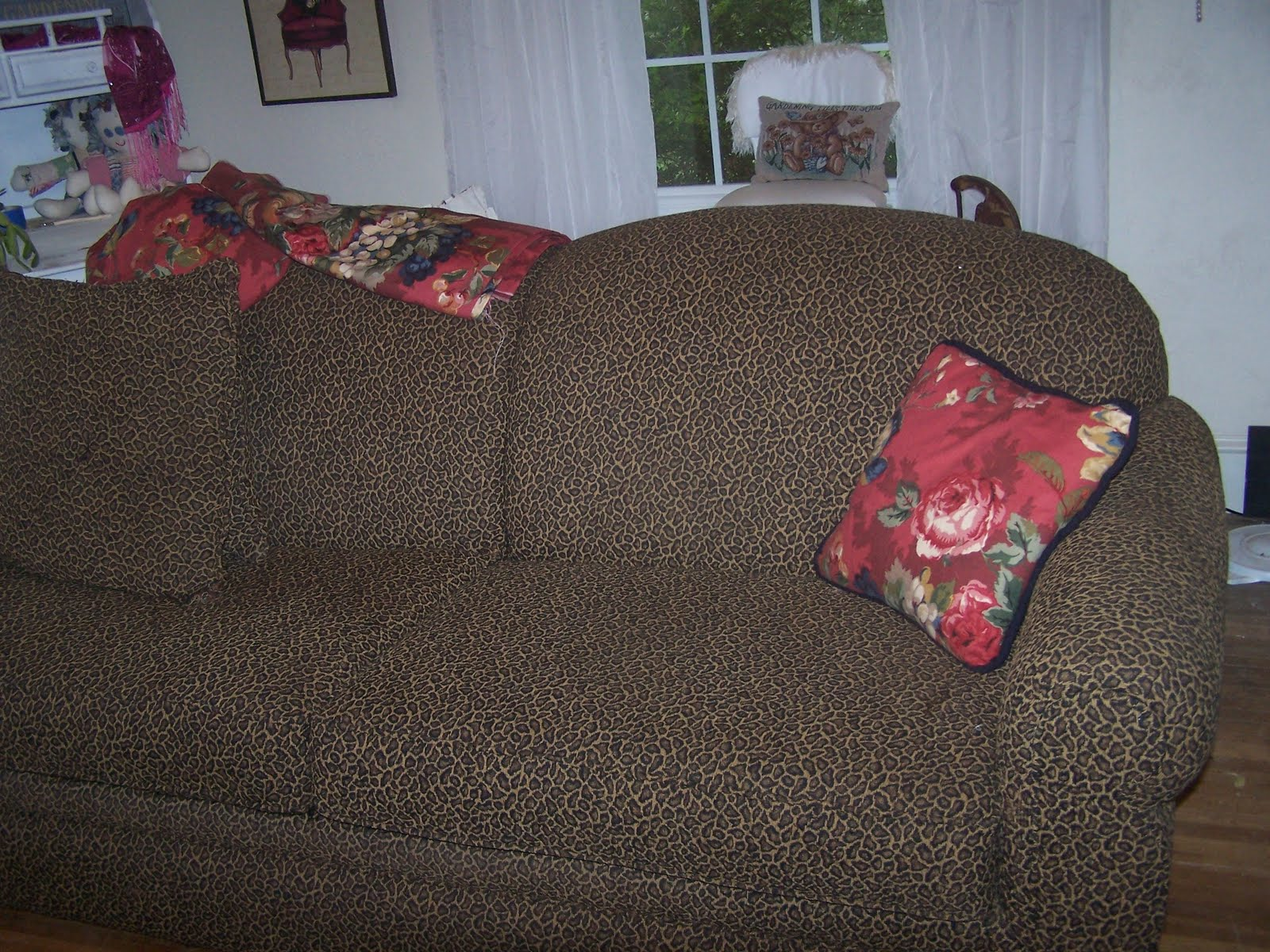 leopard print slipcovered couch