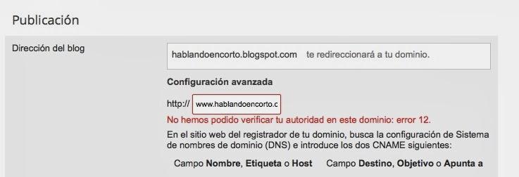 Configuración avanzada del dominio en Blogger - mensaje de error.