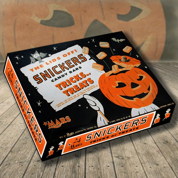 On vintage cardboard candy box, an exploding lid Jack O'Lantern head on ghost waives sign on Halloween night spilling candy into the sky near bat, owl.