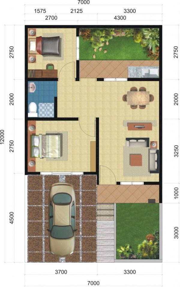 denah rumah minimalis 1 lantai 2 kamar tidur desain
