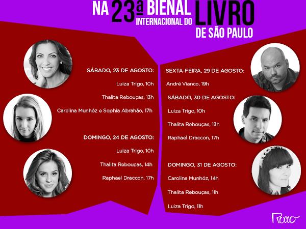 Programação da Editora Rocco para a XXIII Bienal do Livro de São Paulo