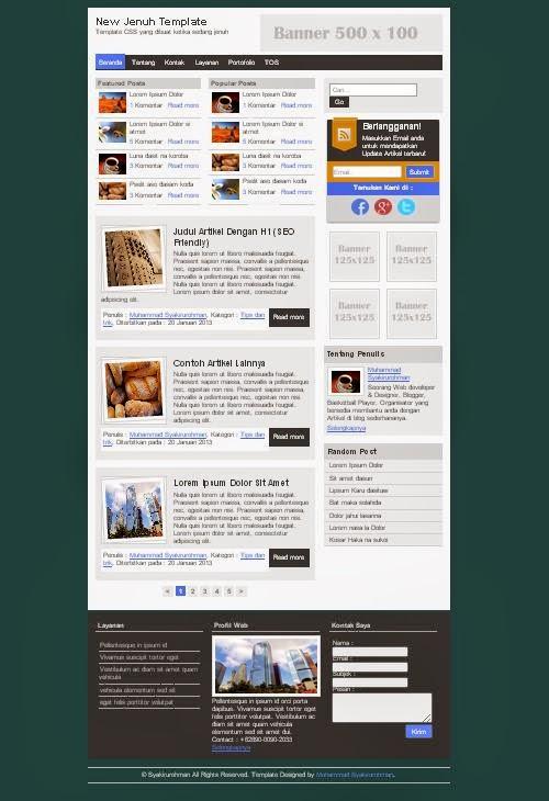Screenshoot new jenuh template CSS